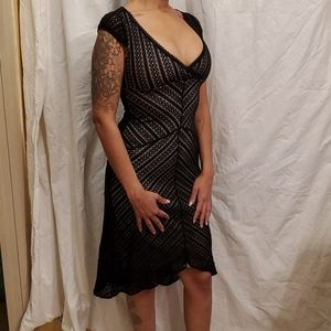 Sexy Black lace overlay on nude dress